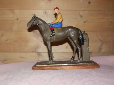 ANTIQUE SPELTER RACE HORSE AND JOCKEY MATCH / STRIKER LIGHTER (racehorse)