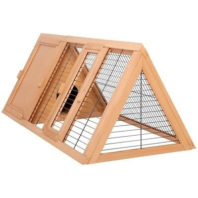 """Large Wooden Triangle Rabbit Guinea Pig Hutch 46"""" Pet Ferret Outdoor House Run"""