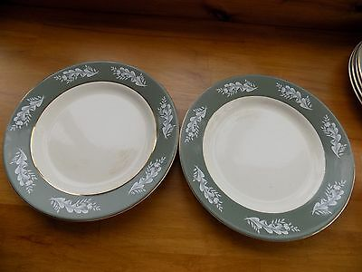 """VINTAGE LORD NELSON WARE GREEN WITH WHITE 2 x 10"""" DINNER PLATES"""