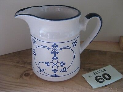 Unmarked Pottery Blue White Glazed Small Milk Jug Floral