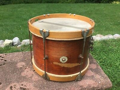 Vintage KENT Marching SNARE DRUM w/ BADGE Wood Hoops LEEDY & LUDWIG Maple USA NY