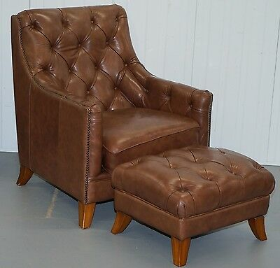 Rrp £1795 Tetrad Belgravia Brown Leather Armchair & Ottoman Perfect Conditon