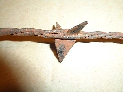 (833B) Antique Barbed Wire, WORMLEY MEDIUM BARB, 3 LINE RH TWIST 1875~Farm tools