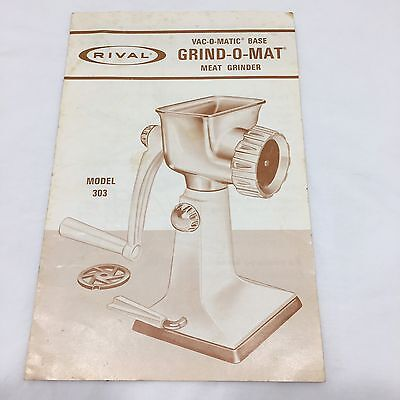 Rival Grind O Mat Meat Grinder Vac O Matic Base Instruction Booklet Only