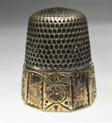 Vintage Sterling SIlver Gold Plated Thimble C1098