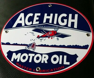 Ace High Motor Oil Gasoline gas sign ....FREE ship on any 10 signs