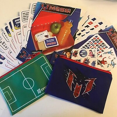 NEW! Lionel MESSI Pack - Two Pencil Cases, Sticker Pack And Lunch Box Notes