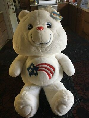 "NWT RETIRED 20th Anniversary Huge Jumbo America Cares Care Bear 27"" Tall"