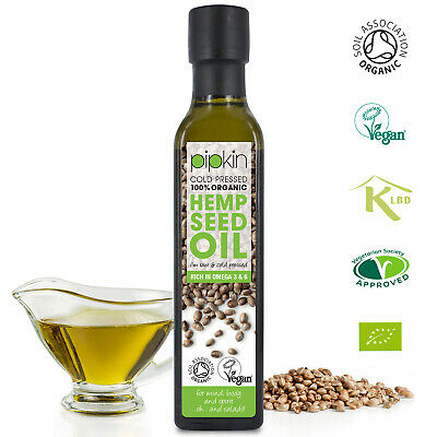 Pipkin ORGANIC Hemp Seed Oil 250ml, Raw Cold-Pressed Unrefined Pure Hempseed Oil
