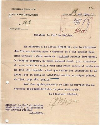 Egypt Ägypten 1909 Letter Signed By France Maspero Lot 7