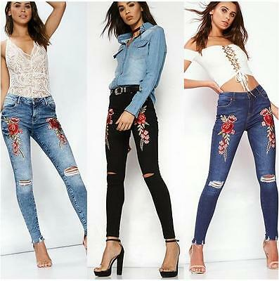 Women's High Waist Jeans with Embroidery Stretch slim pencil Jeans