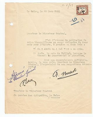 EGYPT Egyptologist 1920 LETTER SIGNED BY FRANCE ARISTIDE BOCHOT + LACAU