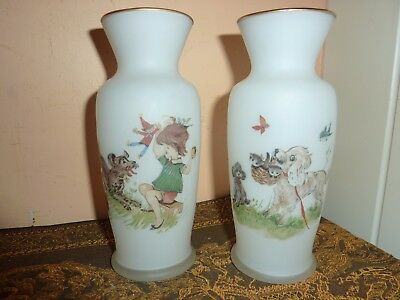 Pair Of Vintage Milk/opaque Glass 15Cm High Vases With Vintage Girl/dogs Playing