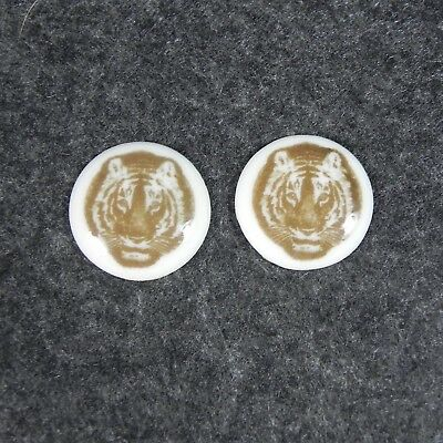 Antique Royal Copenhagen Porcelain Tiger Cufflink Inserts Cabochons 1923