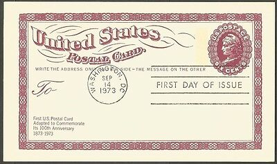 Us Fdc 1973 100Th Anniversary First Us Postal Card Six Cents First Day Of Issue