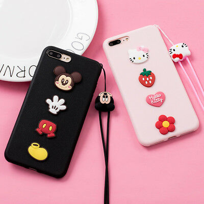 Cute cartoon Hello kitty Mickey Strap soft case Cover for iPhone 8 X 7 6S Plus 5