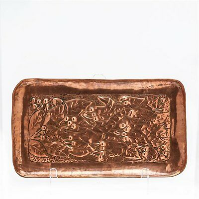Arts & Crafts Copper Fruiting Laurel Tray Signed Newlyn