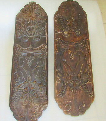 2 Dayak  Anthropomorphic Dance Wedding Male Female Carved Wood Shields Pre 1950