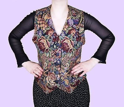 VINTAGE Floral Bodice Baroque Jacquard 90s 70s Goth Brocade Waistcoat Top Corset