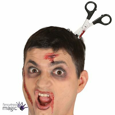 Adults Halloween Bloody Scissors Tiara Headband Cut Fancy Dress Accessory Prop
