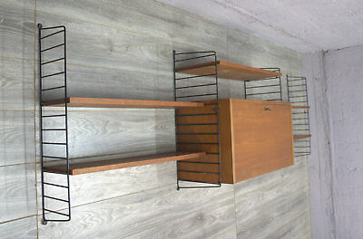 shelf system regal regalsystem container teak original string massiv 50er 60er eur 180 00. Black Bedroom Furniture Sets. Home Design Ideas