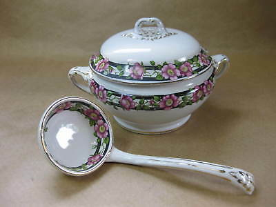 Vintage /Antique Booths Silicon China Sauce Tureen & Ladle~Pink Dog Rose Pattern
