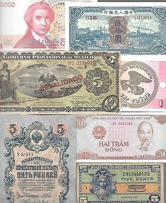 Lot of 74 World Banknotes, 1793-2000  Circ/UNC  Nice! Look!
