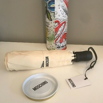 NEW with Tags Moschino Cream Logo Umbrella with Gift Tin