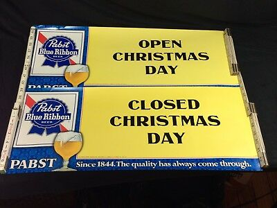 2 Pabst Blue Ribbon Beer Sign Posters Open Closed Christmas Day 1980's