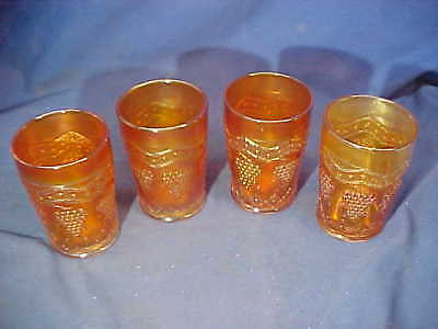 4-1920s MARIGOLD Color CARNIVAL GLASS TUMBLERS w GRAPES + DIAMOND Designs