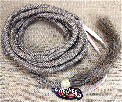 TAN 23ft WEAVER NYLON MECATE REIN w/ HORSE HAIR TASSEL and LEATHER POPPER
