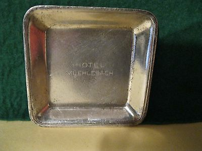 Old vintage Hotel Muehlebach silver plate butter pat tray 1920s to 1960s