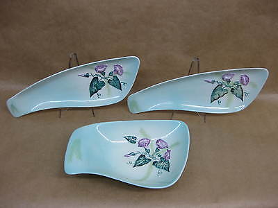 3 Carlton Ware Serving Dishes ~ Convolvulus / Morning Glory ~ Pale Green