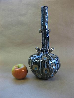 Vintage Unusual Art Pottery Vase ~ 1996, Signed ~ Applied Prunts & Spirals