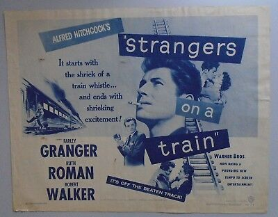 Strangers on a Train - Alfred Hitchcock - US half 1/2 sheet film poster.