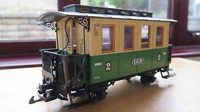 Lgb Model Railway Coach In Green With Light, Item 31110 - G Guage - Excellent!
