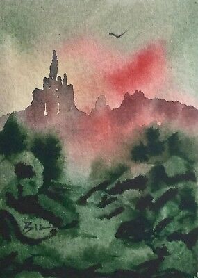 ACEO Original Art Watercolour Painting by Bill Lupton  - Nice View