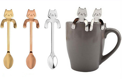 Stainless Steel Cute Cat Shape Coffee Spoons Tea Spoon Stirring Muddeler Stylish