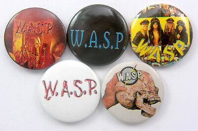 W.A.S.P. Button Badges 5 x WASP Pin Badges * Metal * Music *