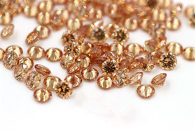 25 PIECES OF 1.5mm ROUND-FACET BUBBLING CHAMPAGNE CUBIC ZIRCONIA GEMSTONES
