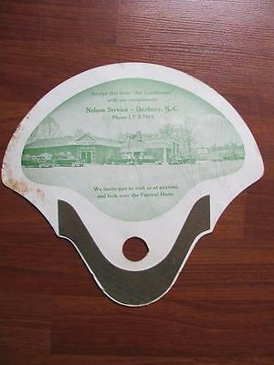 Vintage Nelson Funeral Home Advertising Hand Fan Danbury NC Hearses Ambulance