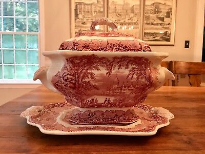 Masons Vista Pink Ironstone Large Soup Tureen With Underplate
