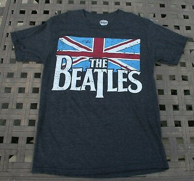 THE BEATLES Charcoal Gray Distressed British Flag, Size M