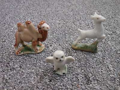 Three Wade pottery 1950s whimsies camel leaping fawn snowy owl