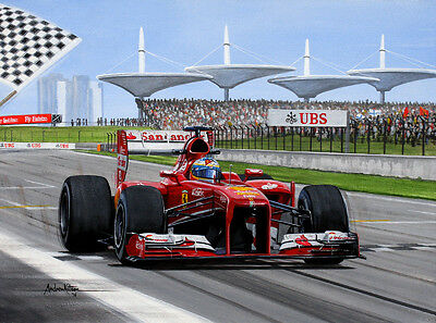 Fernando Alonso Original Painting by Andrew Kitson