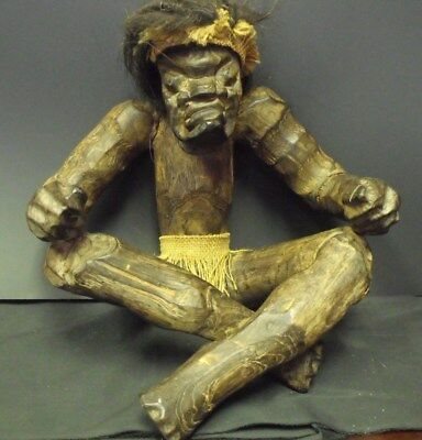 """Very Unusual Vintage West African Hand Carved Tribal Man w/ Hair, 12 x 12"""" High"""