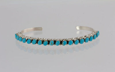 Indian Native American Handmade Sterling Silver Round Turquoise Cuff Bracelet