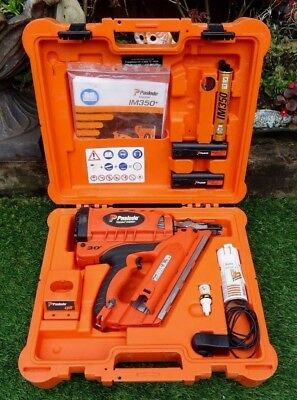 A Good Cased Paslode Impulse Im350+ Angle Finish Gas Framing Nailer In Pwo