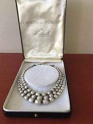 Miriam Haskell Triple Row Graduated Baroque Pearl Necklace in Box - No Reserve