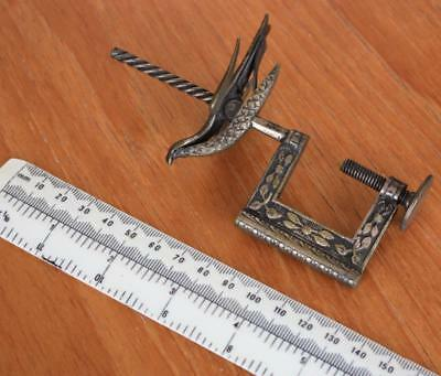 Antique 19th Century Decorative Brass Sewing Clamp with Mounted Bird Form Pinch